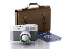3d Old brown suitcase, camera and passport. Royalty Free Stock Image