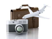 3d Old brown suitcase, camera and plane. Royalty Free Stock Photo