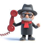3d Old man answers the phone Stock Photos