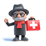 3d Old man brings first aid. 3d render of an old man holding a first aid kit Royalty Free Stock Images