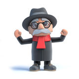 3d Old man is cheering Royalty Free Stock Photography