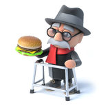 3d Old man eats a burger. 3d render of an old man with a walking frame holding a beegburger Stock Images