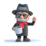 3d Old man has a cup of coffee Stock Photos