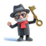 3d Old man has a gold key Stock Photos