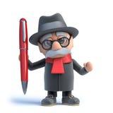 3d Old man has a new pen. 3d render of an old man holding a red pen Royalty Free Stock Photos