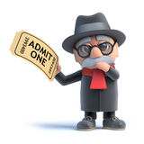 3d Old man holding a cinema ticket Royalty Free Stock Photography
