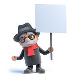 3d Old man holding a placard Royalty Free Stock Photo