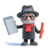3d Old man holds a notepad and pencil Royalty Free Stock Photos