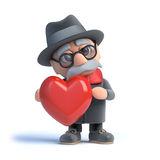 3d Old man hugging a red heart Stock Image