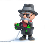 3d Old man playing a video game Royalty Free Stock Image