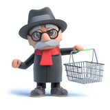 3d Old man with shopping basket Royalty Free Stock Photo