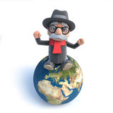3d Old man sitting on top of the world Stock Photography