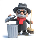 3d Old man takes out the trash Royalty Free Stock Images