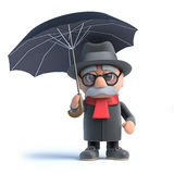 3d Old man under an umbrella Stock Images