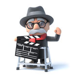 3d Old man with walking frame and clapperboard Stock Images