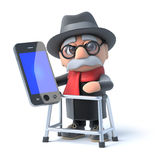 3d Old man with walking frame has a smartphone Royalty Free Stock Images