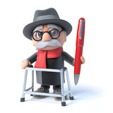 3d Old man with walking frame holding a pen Stock Photography