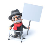 3d Old man with walking frame holding a placard Stock Photography