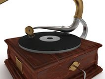 3d old vintage gramophone  on white Royalty Free Stock Photo