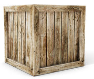 3d old wooden crate. On white background stock images