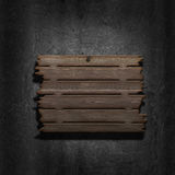 3D old wooden sign on a metal background. 3D render of an old wooden sign on a metal background Royalty Free Stock Photo