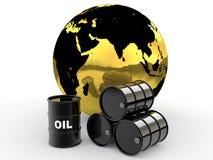 3d olievaten en gouden aardebol Stock Afbeelding