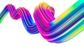 3d olográficos coloridos fluyen onda líquida de la forma para los fondos y los carteles modernos de la Navidad Imagen de archivo