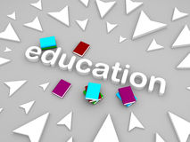 3d onderwijstekst met boeken en pijl Stock Fotografie