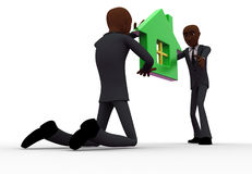 3d one bald head man giving house model to another bald head man concept Royalty Free Stock Photo