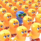 3d One bluebird in a crowd of yellow birds Royalty Free Stock Photos