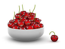 3d One fell out of the bowl of cherries. 3d render of a bowl of cherries with one sole cherry left out Royalty Free Stock Photography