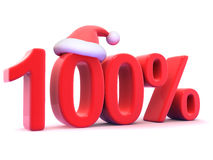 3d One hundred percent symbol with Santa hat Royalty Free Stock Photos