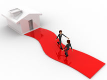 3d one man going towrd house and another leaving house concept Royalty Free Stock Images