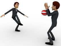 3d one man kick ball and another man blocking it with hands concept Stock Photos