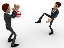 3d one man kick ball and another man blocking it with hands concept Royalty Free Stock Images