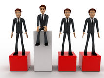 3d one man on more hieght than other men concept Royalty Free Stock Photos
