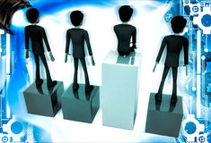 3d one man on more hieght than other men illustration Royalty Free Stock Photo