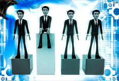 3d one man on more hieght than other men illustration Royalty Free Stock Image