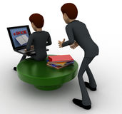 3d one man reading e book on laptop and another man stealing book from behind concept Stock Photo