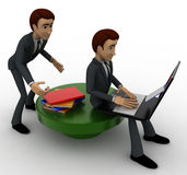 3d one man reading e book on laptop and another man stealing book from behind concept Royalty Free Stock Photography