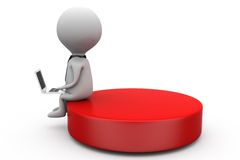 3d one man sitting on disk concept Royalty Free Stock Photo