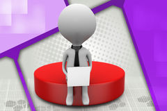 3d one man sitting on disk illustration Royalty Free Stock Photos