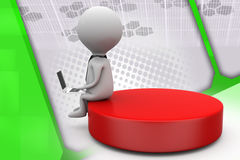 3d one man sitting on disk illustration Royalty Free Stock Image