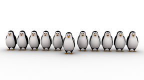3d one penguin come forward line of penguins concept Royalty Free Stock Images