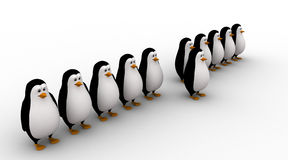 3d one penguin come forward line of penguins concept Stock Photo
