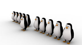 3d one penguin come forward line of penguins concept Stock Photography