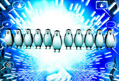 3d one penguin come forward line of penguins illustration Royalty Free Stock Image