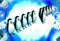 3d one penguin come forward line of penguins illustration Stock Images