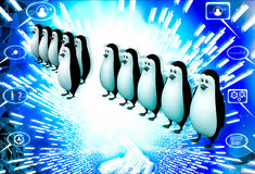 3d one penguin come forward line of penguins illustration Stock Image