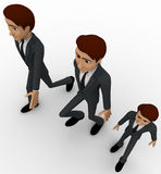 3d one short man walking with two tall men concept Stock Photos